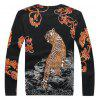 Classic Tiger Print Knitted Male Sweater - COLORMIX