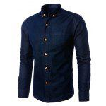 Slim Fit Turn-down Collar Denim Jacket for Men - BLUE