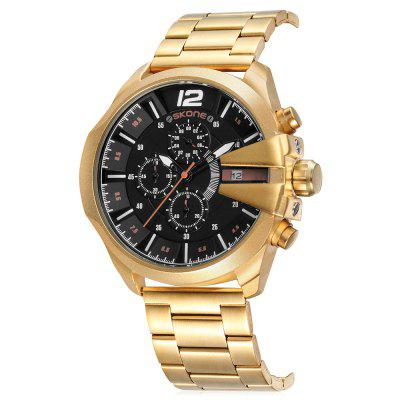 SKONE 7428E Exquisite Steel Band Men Quartz WatchMens Watches<br>SKONE 7428E Exquisite Steel Band Men Quartz Watch<br><br>Band material: Steel<br>Band size: 24.6 x 2cm<br>Brand: Skone<br>Case material: Alloy<br>Clasp type: Hook buckle<br>Dial size: 4.8 x 4.8 x 1.1cm<br>Display type: Analog<br>Movement type: Quartz watch<br>Package Contents: 1 x Watch, 1 x Box<br>Package size (L x W x H): 10.15 x 7.50 x 6.55 cm / 4 x 2.95 x 2.58 inches<br>Package weight: 0.2470 kg<br>Product size (L x W x H): 24.60 x 4.80 x 1.10 cm / 9.69 x 1.89 x 0.43 inches<br>Product weight: 0.1630 kg<br>Shape of the dial: Round<br>Watch mirror: Mineral glass<br>Watch style: Fashion<br>Watches categories: Men