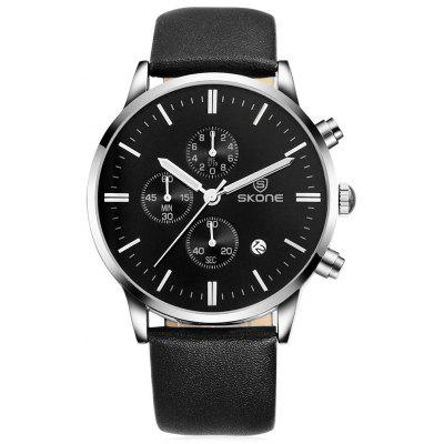 SKONE 9476E Stylish PU Band Men Quartz Watch