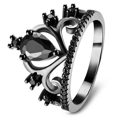 Buy BLACK 8 Women Black Gun Plated Artificial Zircon Ring for $4.10 in GearBest store