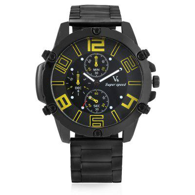 V6 4015 Quartz Men WatchMens Watches<br>V6 4015 Quartz Men Watch<br><br>Band material: Steel<br>Band size: 17.5 x 2.4cm<br>Brand: V6<br>Case material: Alloy<br>Clasp type: Folding clasp with safety<br>Dial size: 5.5 x 5.5 x 1.2cm<br>Display type: Analog<br>Movement type: Quartz watch<br>Package Contents: 1 x Watch, 1 x Box, 1 x Watch, 1 x Box<br>Package size (L x W x H): 8.50 x 8.00 x 5.30 cm / 3.35 x 3.15 x 2.09 inches<br>Package weight: 0.1960 kg<br>Product size (L x W x H): 23.00 x 5.50 x 1.20 cm / 9.06 x 2.17 x 0.47 inches<br>Product weight: 0.1420 kg<br>Shape of the dial: Round<br>Watch style: Fashion<br>Watches categories: Men<br>Water resistance : Life water resistant