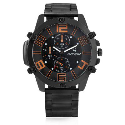 V6 4015 Quartz Men WatchMens Watches<br>V6 4015 Quartz Men Watch<br><br>Band material: Steel<br>Band size: 17.5 x 2.4cm<br>Brand: V6<br>Case material: Alloy<br>Clasp type: Folding clasp with safety<br>Dial size: 5.5 x 5.5 x 1.2cm<br>Display type: Analog<br>Movement type: Quartz watch<br>Package Contents: 1 x Watch, 1 x Box<br>Package size (L x W x H): 8.50 x 8.00 x 5.30 cm / 3.35 x 3.15 x 2.09 inches<br>Package weight: 0.1960 kg<br>Product size (L x W x H): 23.00 x 5.50 x 1.20 cm / 9.06 x 2.17 x 0.47 inches<br>Product weight: 0.1420 kg<br>Shape of the dial: Round<br>Watch style: Fashion<br>Watches categories: Men<br>Water resistance : Life water resistant