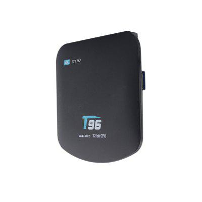T96 RK3229 TV BoxTV Box<br>T96 RK3229 TV Box<br><br>Audio format: AAC, AC3, APE, DTS, FLAC, M4A, WMA, OGG, WAV<br>Core: Quad Core<br>CPU: ARM Cortex-A7<br>Decoder Format: H.263, H.265, HD MPEG4, H.264<br>GPU: Mali400MP2<br>HDMI Function: HDCP<br>HDMI Version: 2.0<br>Interface: HDMI, AV, DC Power Port, USB2.0, TF card<br>Language: English,French,Germany,Spanish<br>Max. Extended Capacity: 32G<br>Model: T96<br>Other Functions: 3D Games, 3D Video, DLNA, Miracast<br>Package Contents: 1 x TV Box, 1 x Power Adapter, 1 x Remote Control, 1 x HDMI Cable , 1 x English User Manual<br>Package size (L x W x H): 18.30 x 11.70 x 7.50 cm / 7.2 x 4.61 x 2.95 inches<br>Package weight: 0.4150 kg<br>Photo Format: PNG, JPG, JPEG<br>Power Supply: Charge Adapter<br>Power Type: External Power Adapter Mode<br>Processor: RK3229<br>Product size (L x W x H): 10.60 x 10.70 x 1.70 cm / 4.17 x 4.21 x 0.67 inches<br>Product weight: 0.2200 kg<br>RAM: 1G RAM<br>RAM Type: DDR3<br>ROM: 8G ROM<br>Support 5.1 Surround Sound Output: Yes<br>System: Android 6.0<br>System Activation: Yes<br>System Bit: 32Bit<br>Type: TV Box<br>Video format: 4K x 2K, H.265, H.264, AVC<br>WiFi Chip: S9082