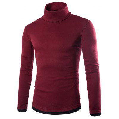 Homens Casual Turtleneck Solid Color Sweaters