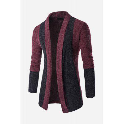 Male Stylish Slim Fit Splicing Knitting Cardigan