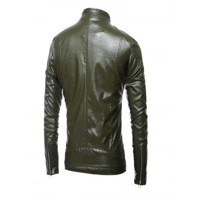 Stand Collar Long Sleeves Leather Coat for MenMens Jackets &amp; Coats<br>Stand Collar Long Sleeves Leather Coat for Men<br><br>Closure Type: Zipper<br>Clothes Type: Others<br>Embellishment: Others<br>Materials: Polyamide, PU<br>Package Content: 1 x Coat<br>Package Dimension: 40.00 x 30.00 x 4.00 cm / 15.75 x 11.81 x 1.57 inches<br>Package weight: 0.6400 kg<br>Pattern Type: Others<br>Product weight: 0.6000 kg<br>Seasons: Autumn,Spring,Winter<br>Shirt Length: Regular<br>Sleeve Length: Long Sleeves<br>Style: Casual<br>Thickness: Medium thickness