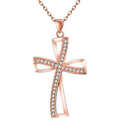 Buy ROSE GOLD Women Gold Plated Artificial Zircon Cross Necklace for $5.45 in GearBest store