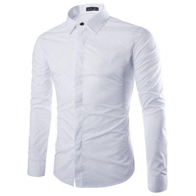 Men Simple Solid Color Long Sleeve Shirt