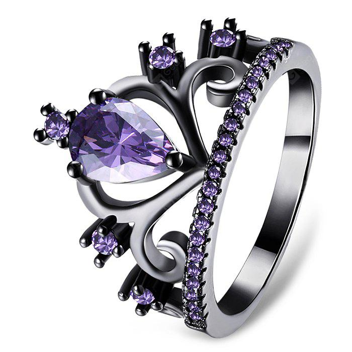 Women Black Gun Plated Artificial Zircon Ring