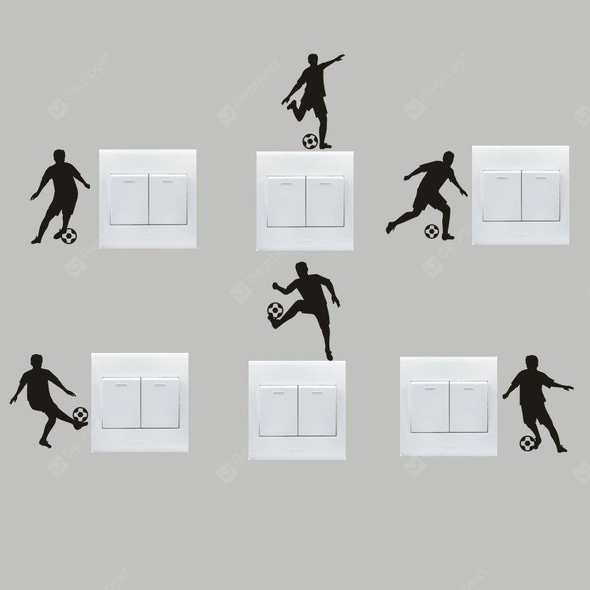 Buy Creative Football Player Wall Sticker Switch BLACK