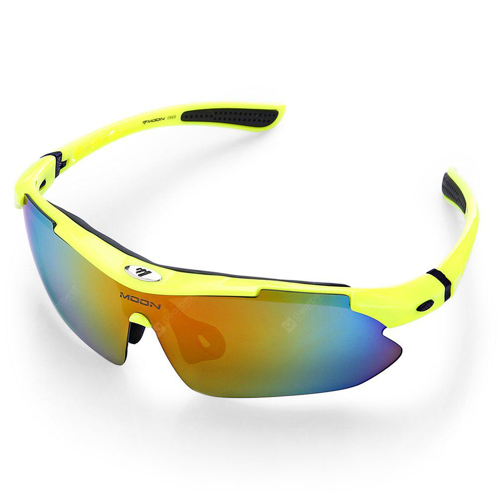 YELLOW UV400 5-replaceable-lenses Polarized Cycling Glasses Set