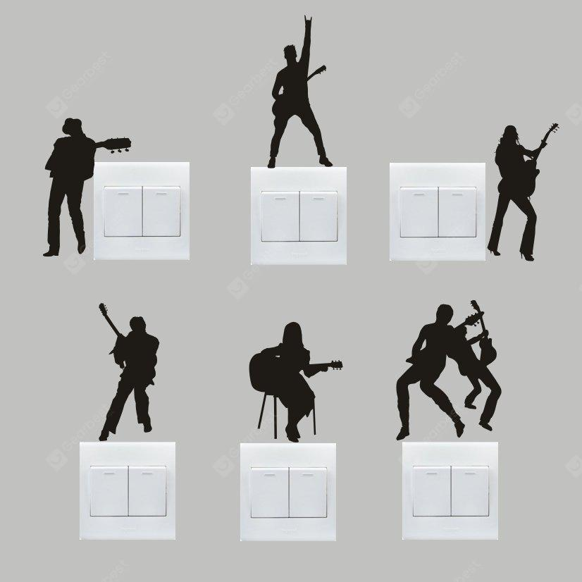 Buy Creative Guitar Band Wall Sticker Switch BLACK