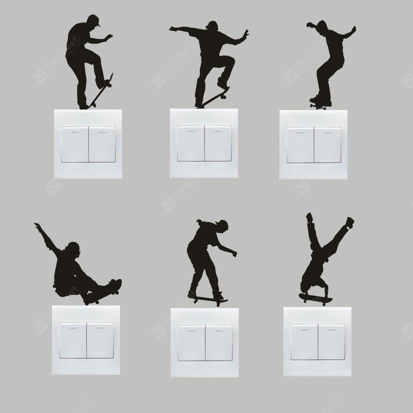 Buy Creative Skater Boy Wall Sticker Switch BLACK