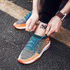 Male Breathable Color Blocking Knitted Sports Sneakers - BLUE + ORANGE