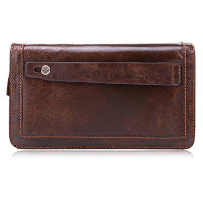 Buy COFFEE Men Leisure Retro Zipper Around Leather Long Wallet for $21.21 in GearBest store