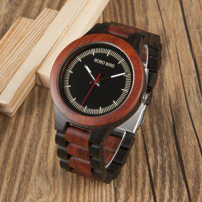 BOBO BIRD W002 Wood Band Men Quartz WatchMens Watches<br>BOBO BIRD W002 Wood Band Men Quartz Watch<br><br>Band material: Wood<br>Band size: 20 x 2.3cm<br>Brand: BOBO BIRD<br>Case material: Wood<br>Clasp type: Butterfly clasp<br>Dial size: 4.5 x 4.5 x 1.1cm<br>Display type: Analog<br>Movement type: Quartz watch<br>Package Contents: 1 x Watch, 1 x Box<br>Package size (L x W x H): 8.50 x 8.50 x 5.50 cm / 3.35 x 3.35 x 2.17 inches<br>Package weight: 0.1280 kg<br>Product size (L x W x H): 20.00 x 4.50 x 1.10 cm / 7.87 x 1.77 x 0.43 inches<br>Product weight: 0.0580 kg<br>Shape of the dial: Round<br>Watch mirror: Acrylic<br>Watch style: Fashion<br>Watches categories: Men
