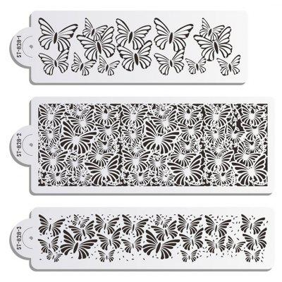 Buy WHITE AK 3pcs / Set Butterfly Pattern Cake Spray Template for $6.99 in GearBest store