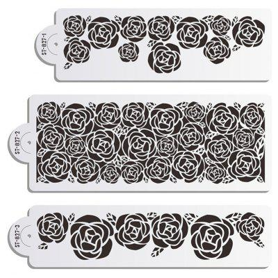 AK 3pcs / Set Rose Pattern Cake Spray Template