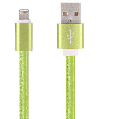 PU Leather Cover Rope 8 Pin USB 2.0 Data Sync Transmission Charging Cable - 1m