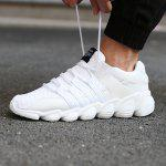 Male Casual Breathable Knitted Running Athletic Shoes - WHITE