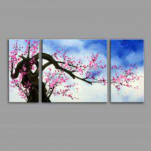 3PCS YHHP Wintersweet Modern Canvas Oil Painting