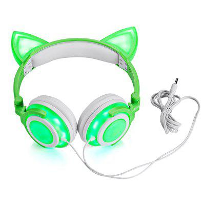 Cute Foldable Flashing Cat Ear HeadphonesEarbud Headphones<br>Cute Foldable Flashing Cat Ear Headphones<br><br>Battery Capacity(mAh): 110mAh Li-ion Battery<br>Battery Types: Built-in<br>Cable Length (m): 1.5 m<br>Charging Time.: 2H<br>Compatible with: PC, Computer, MP3, iPhone, iPod, Portable Media Player, Mobile phone<br>Connectivity: Wired<br>Driver unit: 40mm<br>Frequency response: 20~20KHz<br>Function: Noise Cancelling<br>Impedance: 32ohms±15 percent<br>Material: Plastic<br>Package Contents: 1 x Headset, 1 x Micro USB Cable, 1 x English / Chinese Manual<br>Package size (L x W x H): 21.00 x 17.00 x 7.00 cm / 8.27 x 6.69 x 2.76 inches<br>Package weight: 0.2980 kg<br>Plug Type: Full-sized, 3.5mm<br>Product size (L x W x H): 18.00 x 15.00 x 7.50 cm / 7.09 x 5.91 x 2.95 inches<br>Product weight: 0.1860 kg<br>Sensitivity: 103 ± 5dB<br>Standby time: 8H<br>Type: Over-ear