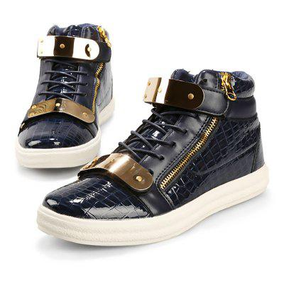Male Stylish Glossy High Top Casual ShoesCasual Shoes<br>Male Stylish Glossy High Top Casual Shoes<br><br>Closure Type: Lace-Up<br>Contents: 1 x Pair of Shoes<br>Function: Slip Resistant<br>Lining Material: Cotton Fabric<br>Materials: PU, Rubber, Fabric<br>Occasion: Tea Party, Party, Holiday, Daily, Casual, Shopping<br>Outsole Material: Rubber<br>Package Size ( L x W x H ): 31.00 x 21.00 x 11.00 cm / 12.2 x 8.27 x 4.33 inches<br>Package Weights: 0.80kg<br>Pattern Type: Solid<br>Seasons: Autumn,Spring<br>Style: Modern, Leisure, Fashion, Comfortable, Casual<br>Toe Shape: Round Toe<br>Type: Casual Leather Shoes<br>Upper Material: PU