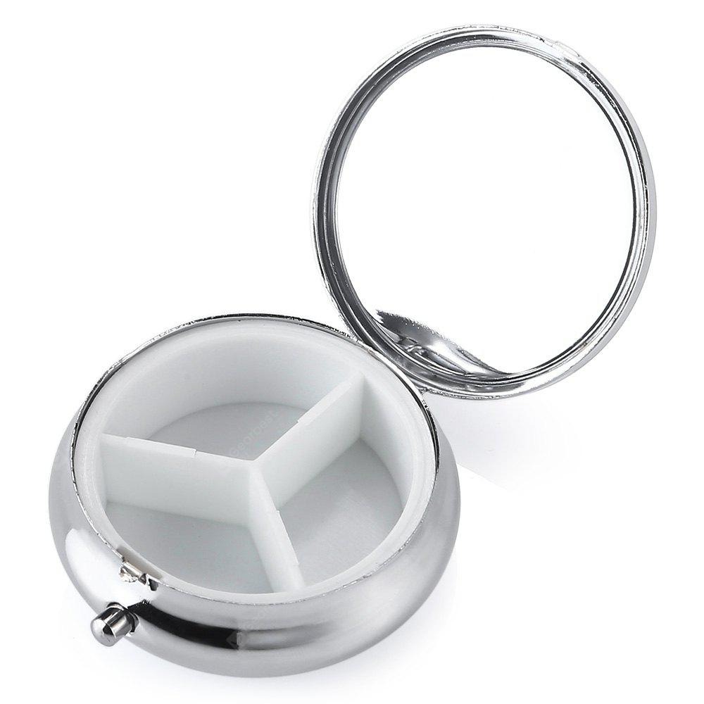 Stainless Steel Round 3-compartment Pill Storage Box Case