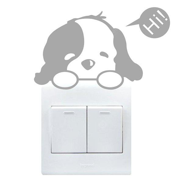 Buy Creative Cute Dog Wall Sticker Switch GRAY