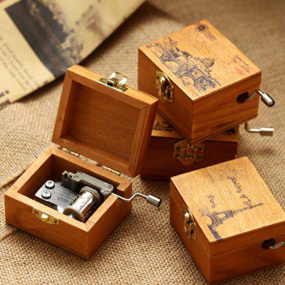 Wooden Hand Crank Music Box