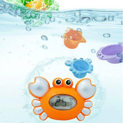 Crab Baby Bath Floating Toy Tub Thermometer Adding 4PCS Jenga Accessory, Orange