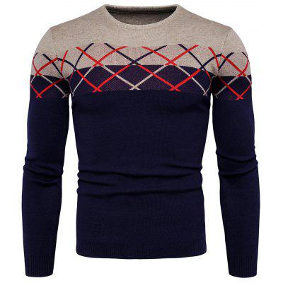 Masculino Trendy Checked Long Sleeves Sweater