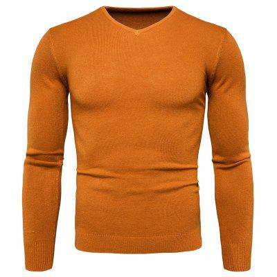 Buy YELLOW L Pure Color Long Sleeves Comfortable Sweater for Men for $16.75 in GearBest store