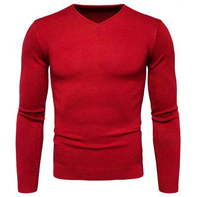 Buy RED L Pure Color Long Sleeves Comfortable Sweater for Men for $16.75 in GearBest store