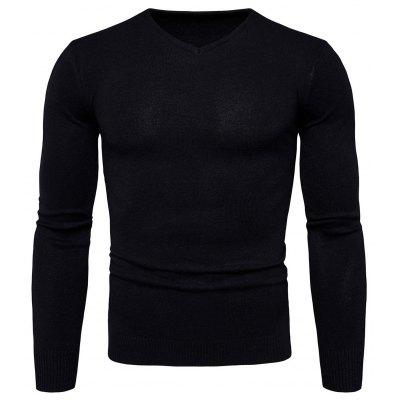 Buy BLACK L Pure Color Long Sleeves Comfortable Sweater for Men for $16.75 in GearBest store