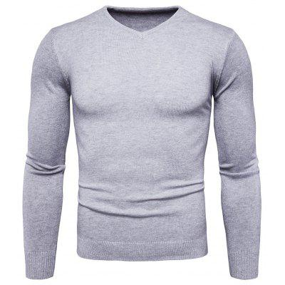 Buy GRAY L Pure Color Long Sleeves Comfortable Sweater for Men for $16.75 in GearBest store
