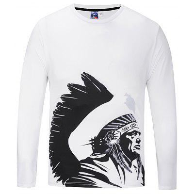 Buy WHITE Fashion Round Collar Long Sleeve Printed T-shirt for $15.02 in GearBest store