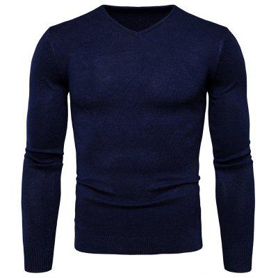Buy CERULEAN L Pure Color Long Sleeves Comfortable Sweater for Men for $16.75 in GearBest store