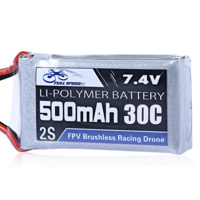 FULL SPEED 7.4V 500mAh 2S 30C LiPo BatteryBattery<br>FULL SPEED 7.4V 500mAh 2S 30C LiPo Battery<br><br>Battery (mAh): 500mAh<br>Battery Coulomb: 30C<br>Package Contents: 1 x LiPo Battery, 2 x Sticker<br>Package size (L x W x H): 6.00 x 10.00 x 2.20 cm / 2.36 x 3.94 x 0.87 inches<br>Package weight: 0.0510 kg<br>Product size (L x W x H): 5.00 x 2.50 x 1.20 cm / 1.97 x 0.98 x 0.47 inches<br>Product weight: 0.0300 kg<br>Type: Battery