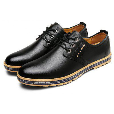 Buy BLACK Male Business Casual Soft Anti Slip Leather Dress Shoes for $37.60 in GearBest store