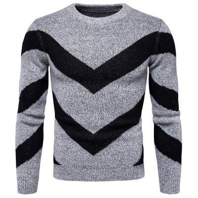 Buy GRAY 3XL Chic Round Neck Stripes Printed Sweater for Men for $25.69 in GearBest store