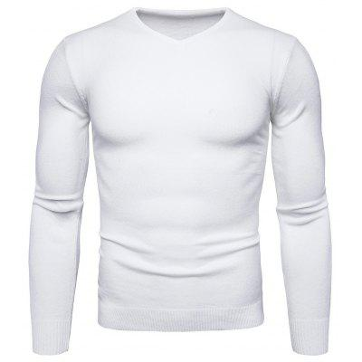 Buy WHITE M Pure Color Long Sleeves Comfortable Sweater for Men for $16.75 in GearBest store
