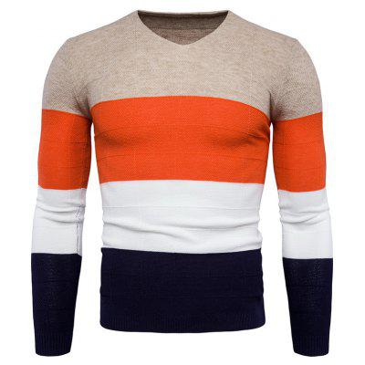 Chic V Neck Joint Long Sleeves Sweater for Men