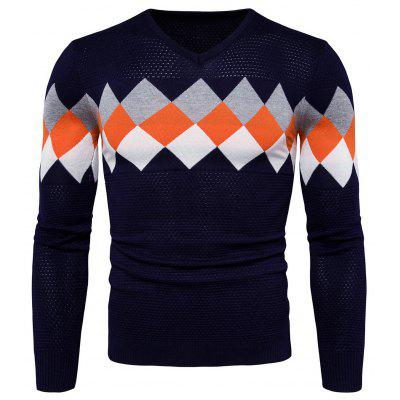 Trendy Checked Joint Long Sleeves Sweater for Men