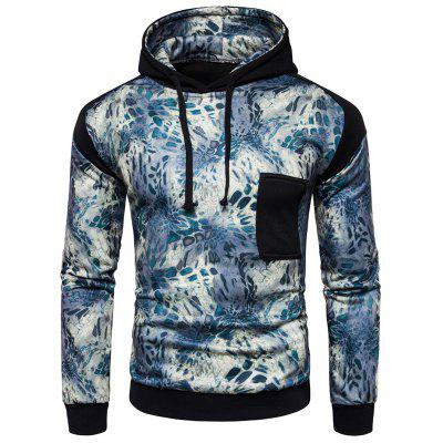 Fashion Printed Joint Long Sleeves Hoodie for Men