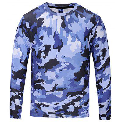 Fashion Round Collar Long Sleeve Camouflage T-shirt
