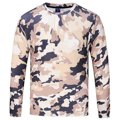 Stylish Round Collar Long Sleeve Camouflage T-shirt