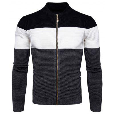 Trendy Zip-up Joint Long Sleeves Sweater for Men
