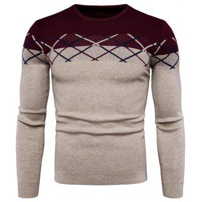 Male Trendy Checked Long Sleeves Sweater